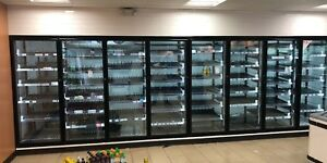 36 w X 12 d X 10 h Walk in Merchandiser Cooler With 14 Glass Doors