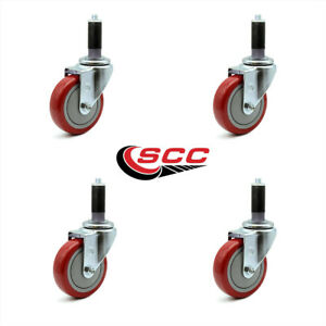Scc 4 Red Polyurethane Caster W 1 Expanding Stem Set Of 4
