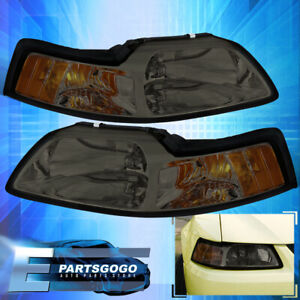 For 1999 2000 2001 2002 2003 2004 Ford Mustang Smoked Headlight W Amber Corner