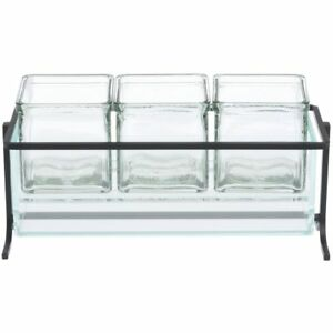 Cal mil Glass Jars Condiment Holder Black Wire Frame 13 1 4 l X 5 w X 5 h