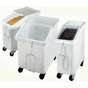 Cambro 21 Gal White Plastic Slant Top Ingredient Bin With Clear Lid 29 1 2 l X