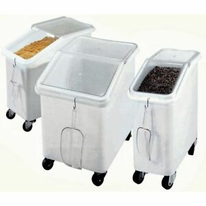 Cambro 27 Gal White Plastic Slant Top Ingredient Bin With Clear Lid 29 1 2 l X