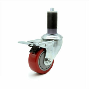 Scc 3 5 Red Polyurethane Caster W 1 1 4 Expanding Stem W total Lock Brake