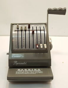 Paymaster 9000 8 Check Writer Protector All Gray Color W keys