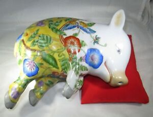 Vintage Hand Painted Porcelain Sleeping Pig Statue Japanese Chinese