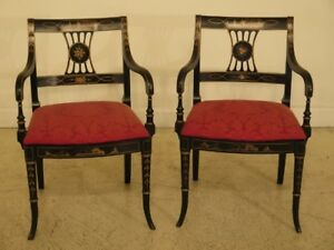 F45638ec Pair Vintage Chinoiserie Decorated Open Arm Chairs
