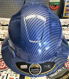 Hdpe Hydro Dipped Fg Blue Silver Full Brim Hard Hat With Fas trac Suspension