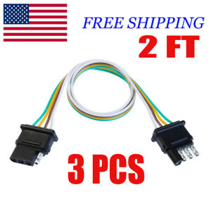 2ft Trailer Light Wiring Harness Extension 4 Pin 18 Awg Flat Wire Connector 3pcs
