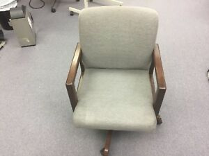 Vintage Boling Office Chair Walnut Finish Grey Swivels On Wheels