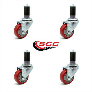 Scc 3 Red Polyurethane Caster W 1 3 8 Expanding Stem Set Of 4