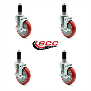 Scc 5 Red Polyurethane Caster W 1 3 8 Expand Stem W brake Set Of 4