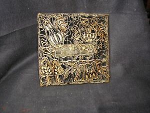 Batik Tjap Vintage Beautiful Floral Handmade Copper Fabric Stamp From Java