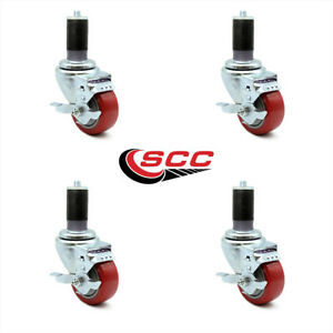 Scc 3 5 Red Polyurethane Caster W 1 1 2 Expand Stem W brake Set Of 4