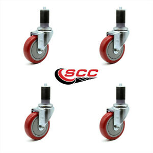 Scc 4 Red Polyurethane Caster W 1 5 8 Expanding Stem Set Of 4