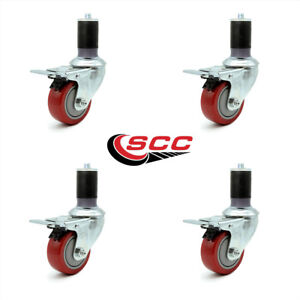 Scc 3 5 Red Polyurethane Caster W 1 5 8 Expanding Stem W tl Brake Set Of 4