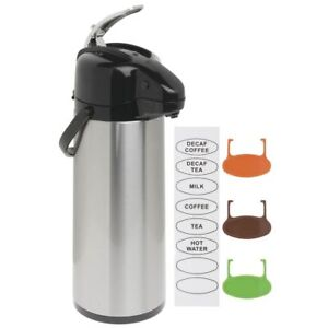 Hubert Airport Thermal Coffee Server With Lever Lid 2 1 2l Stainless Steel