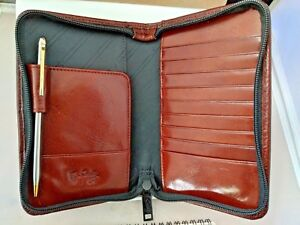 Stunning Nib Scully Mahogany Leather Zipper Planner organizer Wallet
