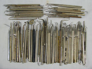 Group Lot Of 70 Old Dental Tools Instruments
