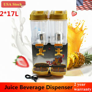 Commercial Juice Beverage Cold Refrigerated Drink Dispenser Machine 2 Tank 17l