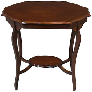 Antique Serpentine Shaped Top Mahogany French Style Lamp Accent End Side Table