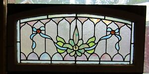 Small Victorian Stained Glass Transom Window 16 By 32