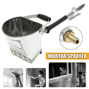 Cement Mortar Concrete Air Stucco Gun Plastering Sprayer Hopper Paint Wall Tool
