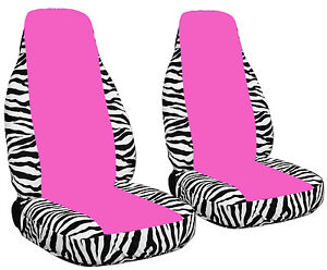 Front Car Seat Covers Zebra White Hot Pink With Opening For Airbags
