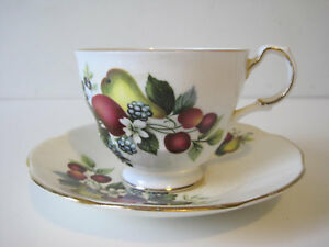 Vintage Rosina Tea Cup And Saucer Bone China Gilding Fruit Made In England