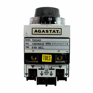 Agastat 7022ad 120v 60hz Coil 5 50 Seconds Time Delay Timer Relay