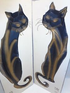 Vtg Siamese Cat Plaques Wall Hanging Art 1950s Mid Century Danish Modern Decor