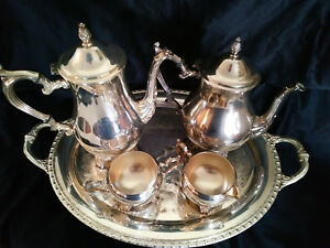 Wm Rogers Son 5 Pc Coffee Tea Silver Set W Rogers Bro 1966 Trophy Tray