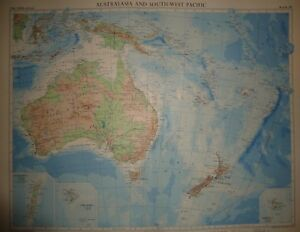 Vintage 1957 Map Australia South West Pacific Large Folio Map 10