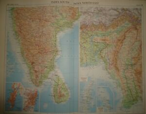 Vintage 1957 Map India South India North East Colombo Large Folio Map 28