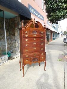 Outstanding Cherry Queen Anne Highboy Crafted By Statton 20thc