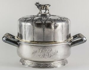 Antique Wood Hughes Sterling Butter Dish With Cow Finial 1884