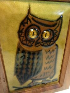 Vtg Owl Wall Hanging Art Mid Century Danish Modern Wood Teak Enameled Plaque
