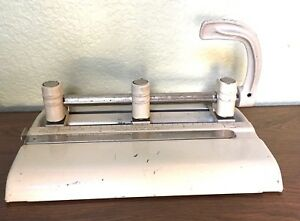 1960 Vintage 3 Hole Punch Master Products Mfg Co Model I335 Industrial Metal wor
