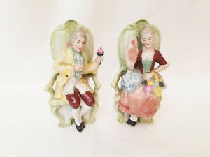 Germany French Provincial Couple Sitting Porcelain Stamped Figurines