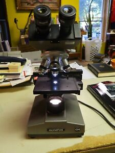 Vintage Working Microscope Olympus Ch Cha 10x 40 100 A4 Japan Lab Home Use