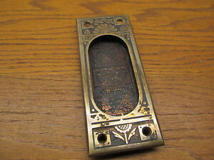 Old Heavy Brass Bronze Pocket Door Escutcheon Door Plate Ornate Nice