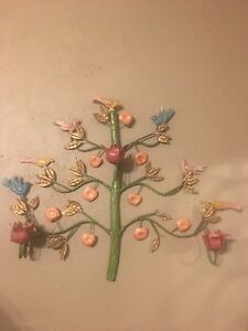 Vtg Mid Century Metal Wall Hanging Tree Of Life Bird Fruit Candle Holder Art
