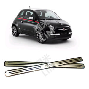 Stainless Steel Door Sill Scuff Plate Door Guard Cover Trim For Fiat 500 500c