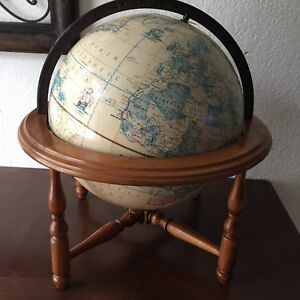 Vintage 12 Rand Mcnally Terrestrial World Globe With Wood Stand Table Top