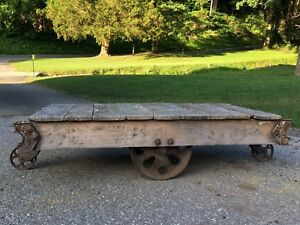 Antique Industrial Railroad Factory Cart W Cast Iron Wheels Vtg Coffee Table