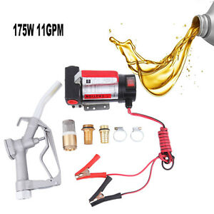 Electric Fuel Transfer Pump Diesel Kerosene Oil Commercial Auto 12v Dc W Nozzle