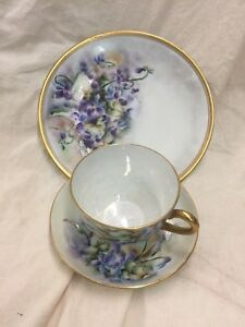 Vintage Hand Painted Cup And Saucer Plate Signed Johnson Pansy
