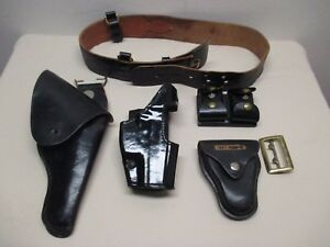 Bianchi Police Leather Belt Sz 36 Holster Handcuff Ammo Case Safariland 295 177