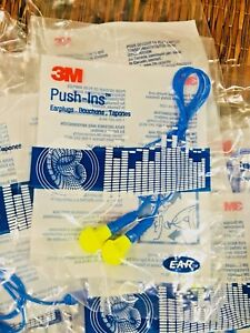 45 Pair New 3m Push in Reusable Ear Plugs Corded Nrr28 28db 318 1005