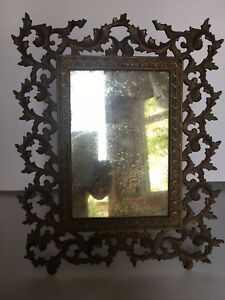 Antique Dresser Mirror Frame Ornate Metal Easel Stand Very Nice Condition
