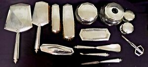 Complete 13 Piece Alvin Sterling Dresser Vanity Brush Mirror Set And More